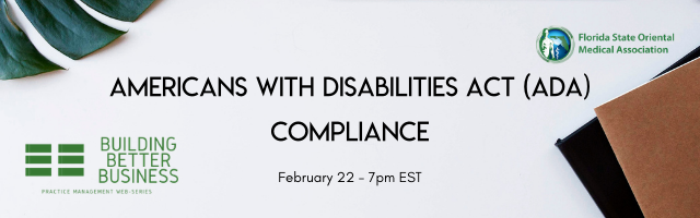 promotional image for the webinar on Americans with disabilities act (ada) compliance